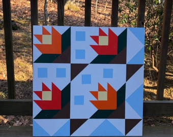 Hand painted rustic barn quilt. 2'x2', Spring Flowers pattern. Indoor/outdoor, weather resistant.