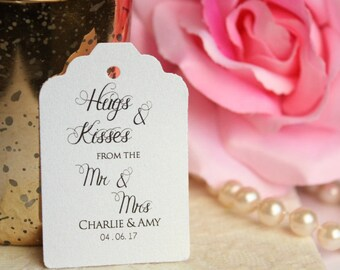 Custom Hugs and Kisses Favor Tags, Hugs and Kisses from Mr & Mrs Personalized Favor Tags - Set of 20