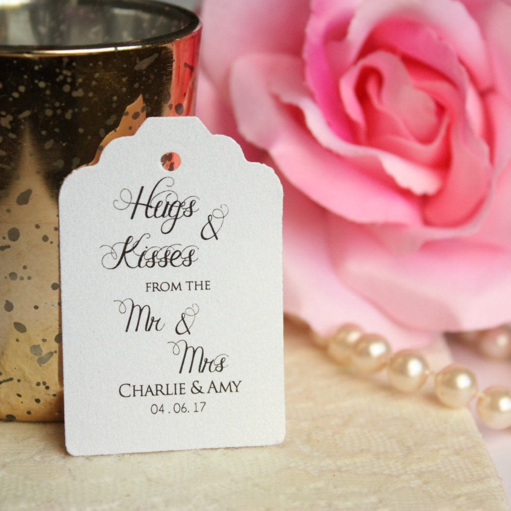Custom Hugs and Kisses Favor Tags Hugs and Kisses from Mr &