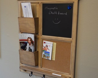 Antiqued MAGNETIC Chalkboard & Cork board with Two Mail Organizer letter holder  Key / Coat / Hat rack - RusTic - Home Decor