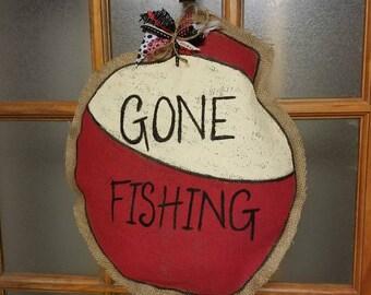 Gone Fishing Burlap Door Hanger