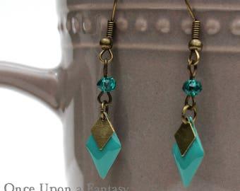 Earrings turquoise enamel diamonds - Once Upon a Fantasy