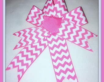 Pink & White Zig Zag Hair Bow with Tails