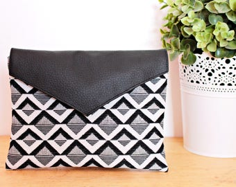 Pouch / clutch black and white geometric with faux leather flap