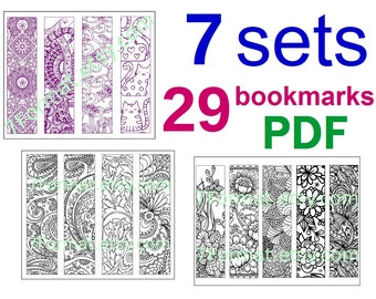 7 sets Bookmarks Coloring, Total 29 Bookmarks, Printable PDF size 8.5 x 11 inches (Letter), Vector Graphics, Instant Download. For Coloring.