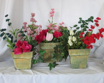 terra cotta containers, set of three, home decor, terra cotta with a patina look, water proof inside the planters