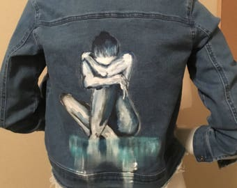 BLUE Girl Handpainted Denim Jacket