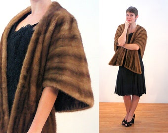 60s Brown Mink Fur Stole, Vintage Fur Shawl Glam Wrap Shrug Prom Party Costume Cape, One Size Fits Most