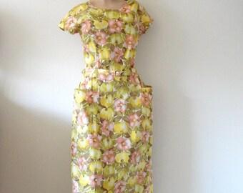 1950s Day Dress / Floral & Fruit Print Cotton Sheath / Vintage NOS