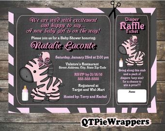 Printable Zebra Baby Shower Invitations Personalized attached Raffle Ticket Party Favors