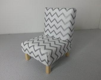 Modern Dollhouse Miniature Occasional Chair Silver Chevron 1:12 Scale