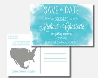 Watercolor Save the Date | Mexico Wedding | Save our Date Postcard