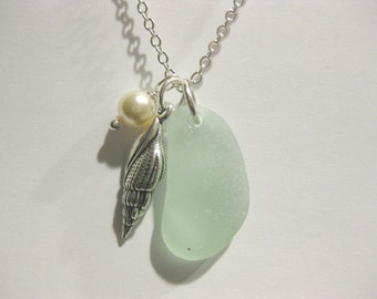 Seaglass Pendant - Shell pearl  Sea Glass Pendant  Shell Jewelry Beach Glass Jewelry Handmade, Custom Jewelry