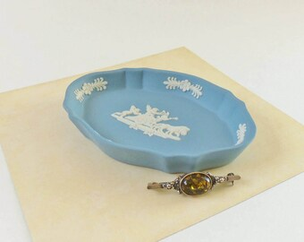 Collectible Wedgwood Jasperware Blue Trinket or Ring Dish - 4 Inch Vintage Oval Jewelry Dish with Scalloped Edge - Lovely Gift