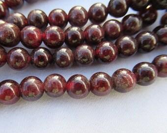 Deep Red Garnet Stone Smooth Round Garnet Beads 6mm Bead Strand g016
