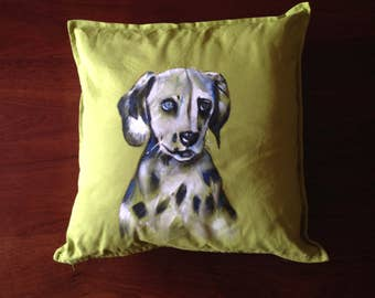 Dalmatian - hand painted cushion cover light green