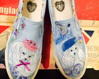 canvas sneakers with hand painted poodles