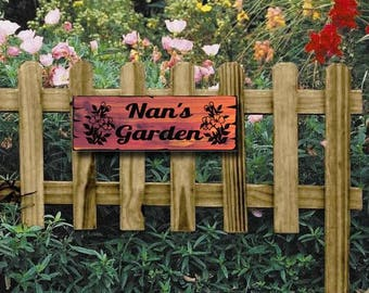 Personalized Garden Yard Sign   Custom Carved Cedar  Wood Welcome   Great  Gift
