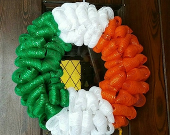 Irish Flag, St. Patrick's Day, St Patricks Day Wreath, Mesh St Patrick's Day, Green, Irish, Saint Patrick's Day, St Patty's Day, Irish Decor