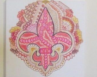 Fleur-de-lis painting on stretched canvas