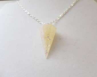 Faux crystal pendulum necklace
