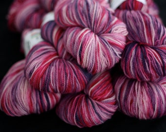Be My Valentine, Love the Pink Hand Dyed Superwash Merino Wool Sock Yarn, Pink & Purple,'Berry Picking'