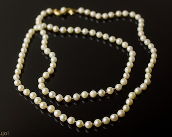Vintage Long Strand Faux Pearl Necklace