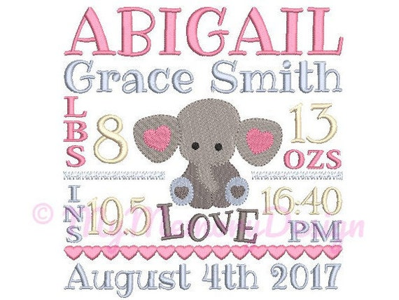 Elephant birth announcement embroidery design Birth template