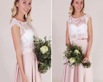 Bridal bolero, ivory corded lace with cap sleeves and eyelash fringe detail, uk sz 10, sample sale