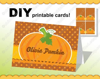 "Printable Place Cards Thanksgiving Editable JPG & Word Pumpkin Polka dots images 8,5 x 11"" sheet DIY Digital Collage Sheet cf00001-29b"
