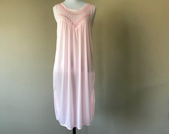 XL / Nylon Nightgown / Short Pink Night Gown Lingerie / Extra Large / FREE USA Shipping