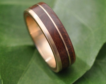 Size 11, 7mm READY TO SHIP Yellow Gold Un Lado Asi Wood Ring  - 14k recycled gold wood wedding band, wooden wedding ring, wood ring