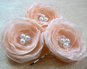 Peach wedding bridal flower hair accessory (3 pcs), bridal hairpiece, bridal hair flower, wedding hair accessories, hairpiece, READY TO SHIP