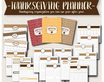 Thanksgiving Planner and Organizer Bundle - Printable 8.5x11 Thanksgiving Planner/Kit
