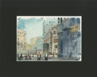 5x7 original watercolor of cityscape