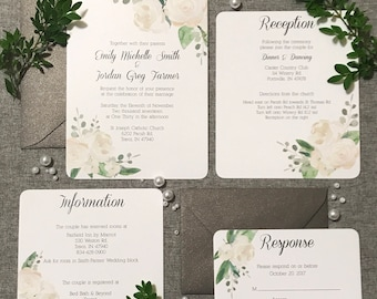 Grey Floral Wedding Invitation