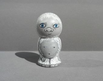 Yeti Kokeshi Doll Wooden Handpainted