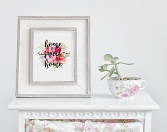 Home Sweet Home , Home Wall Art, Antique Prints, Floral Wall Art, Home Sweet Home Sign, Watercolor Wreath, Boho Home Sweet Home, Printable