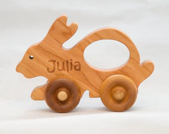 Wooden Bunny Car - Bunny Push Toy - Waldorf and Montessori Inspired Animal Toy Car