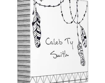 Tribal Feathers Baby Book BINDER, Custom binder with name