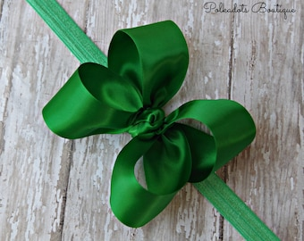 Boutique Emerald Green Satin Headband Big Bow Headband Emerald Green Baby Headband Toddler Headband Large Bow Headband Christmas Bow