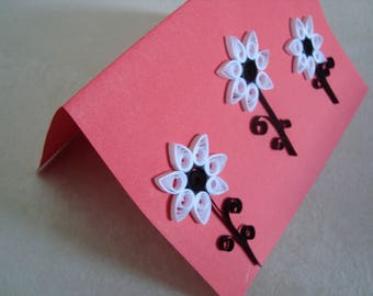 Card in quilling - 3 black and white flowers
