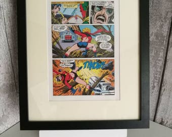Ms Marvel Wallart Framed Page from the actual 1980's Annual - Unique Gift -Superhero fan - Ms Marvel fan