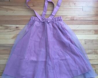 Women's Rose Pink Sheer Chiffon Mori Girl Suspenders Skirt! Size XS-M