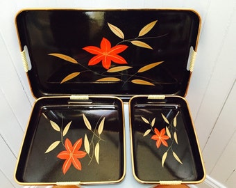 Vintage 1960s Floral Japanese Lacquerware Nesting Serving/Sushi Trays