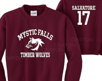 Vampire Diaries Mystic Falls Salvatore 17 Timberwolves Sweatshirt