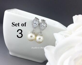 Set of 3 Bridesmaid Earrings Dangle Earrings Pearl Bridal Earrings Wedding Jewelry CZ Earrings Bridesmaid Gift for Her Ivory Earrings