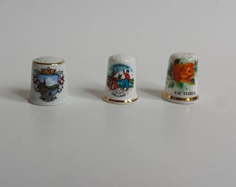 porcelain thimbles | instant collection of thimbles | bone china thimble collection | sewing thimbles | sewing notions | vintage thimbles