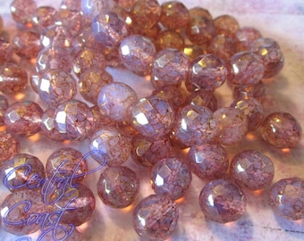 True Love - Czech Glass Round Faceted Picasso Bead - 12mm - 6pcs - Pink Opalite - Vintage Shabby Style - Central Coast Charms
