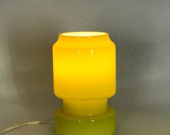 Yellow glass 1960's table lamp